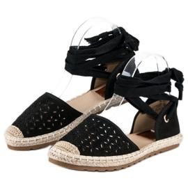Sweet Shoes Wiązane espadryle czarne 6
