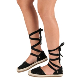 Sweet Shoes Wiązane espadryle czarne 12