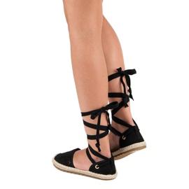Sweet Shoes Wiązane espadryle czarne 10