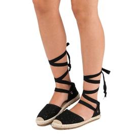 Sweet Shoes Wiązane espadryle czarne 8