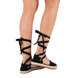 Sweet Shoes Wiązane espadryle czarne 11