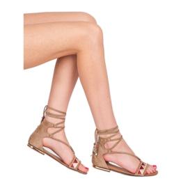 Vices Płaskie sandały damskie brązowe 3