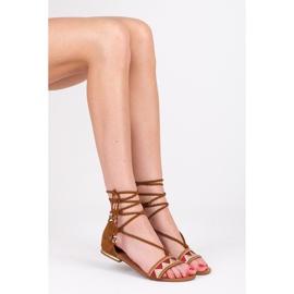 Vices Płaskie sandały damskie brązowe 1