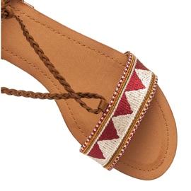 Vices Płaskie sandały damskie brązowe 2