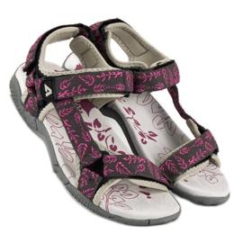 American Club Tekstylne sandały na rzep american różowe 1