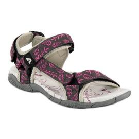 American Club Tekstylne sandały na rzep american różowe 2