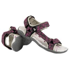 American Club Tekstylne sandały na rzep american różowe 4