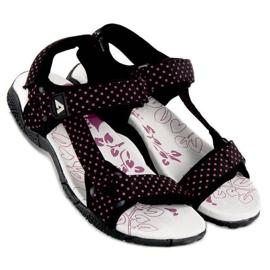 American Club Tekstylne sandały na rzep american czarne 2