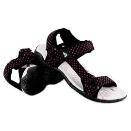 American Club Tekstylne sandały na rzep american czarne 1