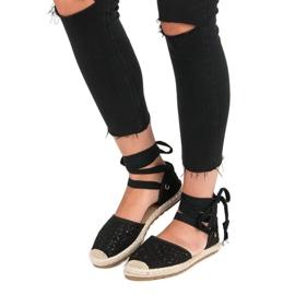 Sweet Shoes Wiązane espadryle czarne 1