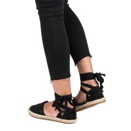 Sweet Shoes Wiązane espadryle czarne 3