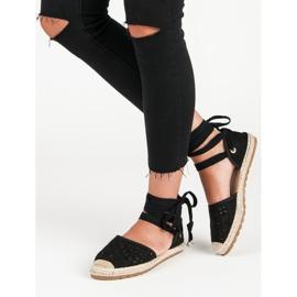 Sweet Shoes Wiązane espadryle czarne 2