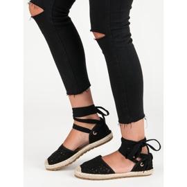Sweet Shoes Wiązane espadryle czarne 4