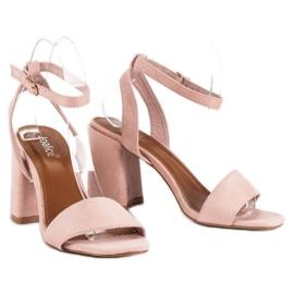 Różowe Zamszowe Sandały 5