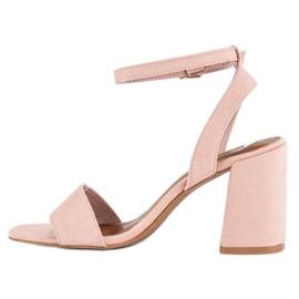 Różowe Zamszowe Sandały 3
