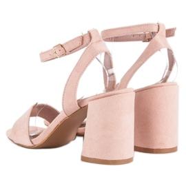 Różowe Zamszowe Sandały 4