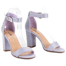 Marquiz Fioletowe sandały damskie 5