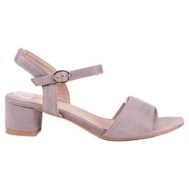 Ideal Shoes Zamszowe sandały na niskim obcasie fioletowe 3