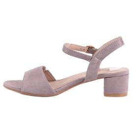 Ideal Shoes Zamszowe sandały na niskim obcasie fioletowe 4