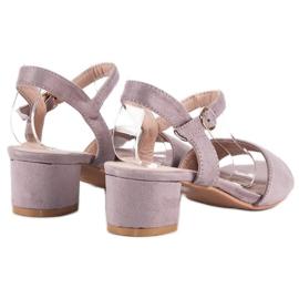 Ideal Shoes Zamszowe sandały na niskim obcasie fioletowe 5