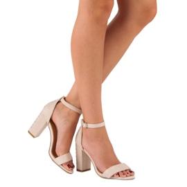 Bestelle Eleganckie sandały na słupku brązowe 2