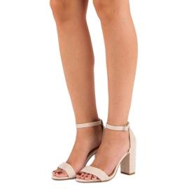 Bestelle Eleganckie sandały na słupku brązowe 1