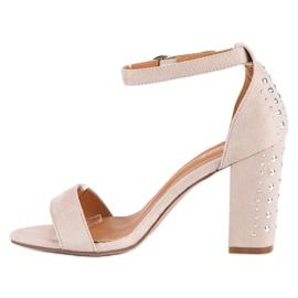 Bestelle Eleganckie sandały na słupku brązowe 3
