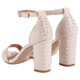 Bestelle Eleganckie sandały na słupku brązowe 4