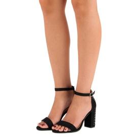 Bestelle Eleganckie sandały na słupku czarne 1