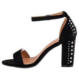 Bestelle Eleganckie sandały na słupku czarne 3