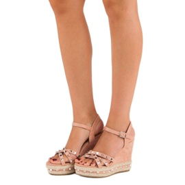 Seastar Zamszowe sandały espadryle różowe 1