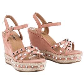 Seastar Zamszowe sandały espadryle różowe 5
