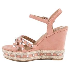 Seastar Zamszowe sandały espadryle różowe 3