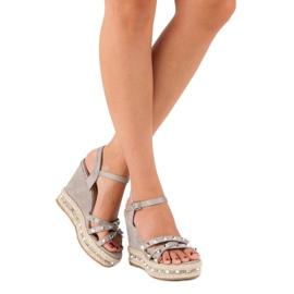 Seastar Zamszowe sandały espadryle szare 2