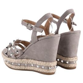 Seastar Zamszowe sandały espadryle szare 4