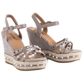 Seastar Zamszowe sandały espadryle szare 5