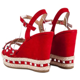 Seastar Zamszowe sandały espadryle czerwone 4