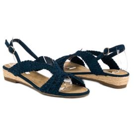Corina Granatowe tekstylne sandały niebieskie 3