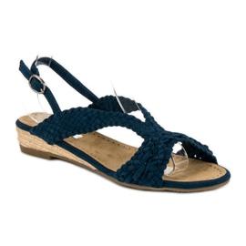 Corina Granatowe tekstylne sandały niebieskie 1