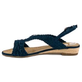 Corina Granatowe tekstylne sandały niebieskie 2
