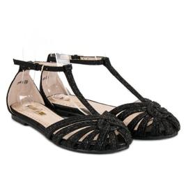Corina Czarne sandały z brokatem 5