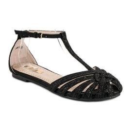 Corina Czarne sandały z brokatem 1