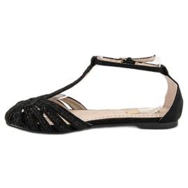 Corina Czarne sandały z brokatem 2