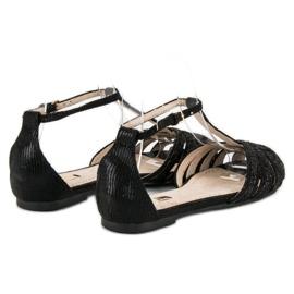 Corina Czarne sandały z brokatem 3