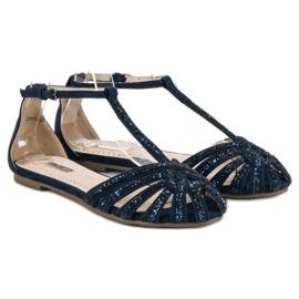 Corina Granatowe sandały z brokatem niebieskie 4