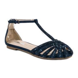 Corina Granatowe sandały z brokatem niebieskie 1