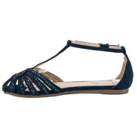 Corina Granatowe sandały z brokatem niebieskie 2