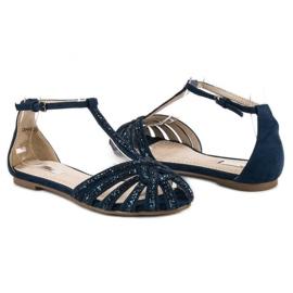 Corina Granatowe sandały z brokatem niebieskie 3
