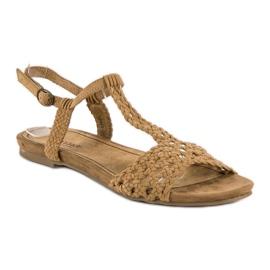 Corina Materiałowe sandały płaskie brązowe 1