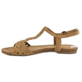 Corina Materiałowe sandały płaskie brązowe 2